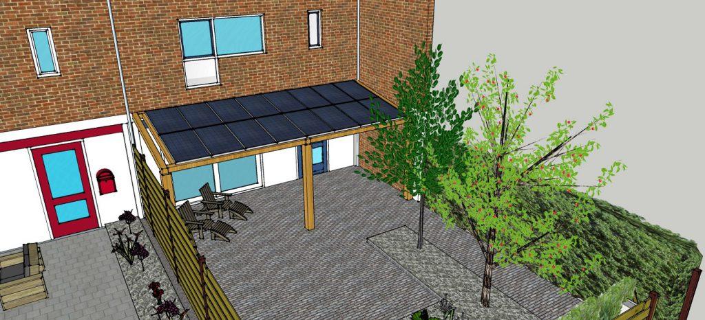 plattegrond aanzicht woonhuis met overkapping zonnepanelen 1