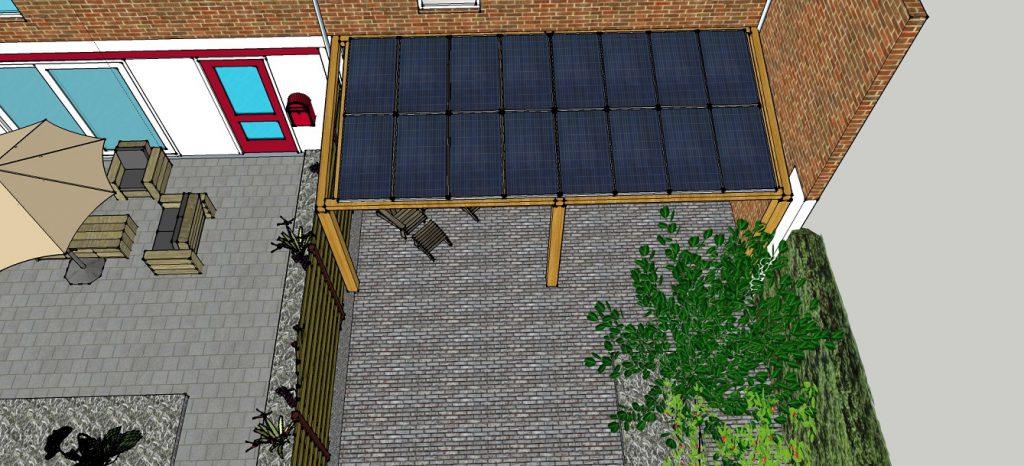 plattegrond aanzicht woonhuis met overkapping zonnepanelen 3
